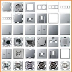 GIRA System 55 E2 Alu Silber USB Steckdose Rahmen Schalter Wippe Einsatz Taster