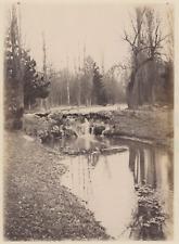France, Cascade du Bois de Vincennes  Vintage albumen print.  Tirage album