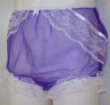 "SEAMLESS Purple SHEER NYLON TRICOT SISSY PANTIES BRIEFS Waistband Stretch 30-42"""