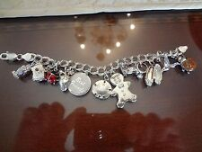 VINTAGE STERLING SILVER DOUBLE LINK CHARM BRACELET WITH 12 COOL CHARMS--925--