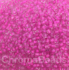 50g glass seed beads - Fuchsia Inside - approx 3mm (size 8/0) (pink/mauve)
