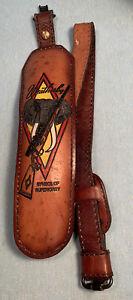 Vintage Weatherby Gun Rifle Padded Leather Sling Hunting Safari Elephant Head