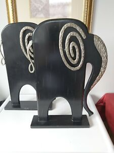 Large Pair Contemporary Wooden Wood & Metal  Elephant Display Book Ends 48 cm