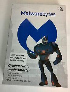 Malwarebytes 1 year, 1 PC Brand New Sealed