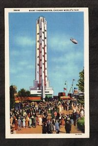 Vtg Postcard ~ Giant Thermometer, Chicago World's Fair ~ Unused WH