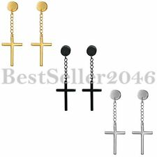 2pcs Stainless Steel Cross Dangle Studs Earrings piercing Jewelry For Men Women