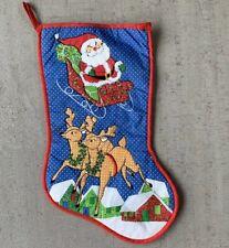 Santa Sleigh Reindeer Christmas Stocking Vintage Taiwan Textured Beard Blue Red