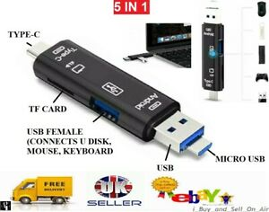 5in1 USB 3.0 Type C / USB / Micro USB SD TF Memory Card Reader OTG Adapter UK