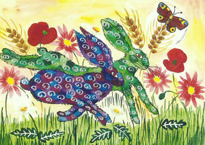 """Greeting card  ,Quirky Hares leaping among flowers 5"""" x 7"""" By Casimira Mostyn"""