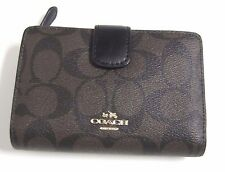 Coach Medium Corner Zip Signature PVC Brown & Black Wallet F54023 NWT $165
