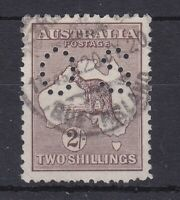 K817) Australia 1918 2/- Brown 3rd wmk. Kangaroo punctured 'OS' BW 37ba