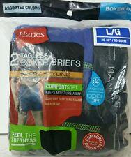 Hanes Mens TAGLESS Boxer Briefs ComfortSoft Sport Styling L LARGE 2 Blue Black