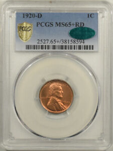 1920-D LINCOLN CENT - PCGS MS-65+ RD PREMIUM QUALITY & CAC APPROVED!