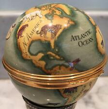 Halcyon Days World Enamel Globe W/ Endangered Species Albert Schweitzer England