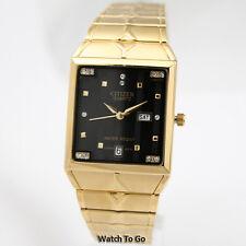 NEW CITIZEN BATTERY QUARTZ WATCH for Men * Gold Tone * White Gift Box * 15D_M04