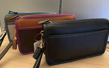 NWT!!Coach Glovetanned Britt Leather Wristlet Wallet Black,Dark Teek ,seashell