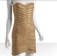 BCBG Max Azria Strapless Bandage Foil Dress (GOLD) (Size XS)body