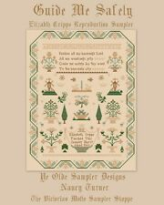 Guide Me Safely,antique sampler style,cross stitch chart(10pg) & overdyed floss!