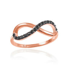Women's 14k Rose Gold Contemporary Wedding Band Dainty Infinity Ring Made in USA