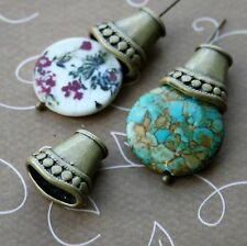 Antique Bronze Big Flat Bead Cap - 4 pcs