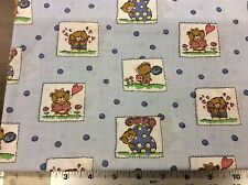BLUE DOT BEAR APPLIQUE COTTON FABRIC  BY THE YARD
