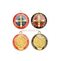 10Pcs Religious Crosses Enamel Medals Charms Pendants Cross 25mm