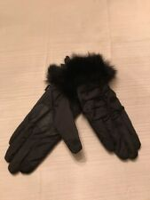 NWT Echo touch   Black gloves with Rabbit fur  size small #3G