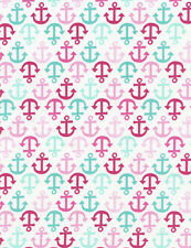 Fabric Nautical Regatta Anchors Pinks Teals on White Cotton by the 1/4 yard Bin