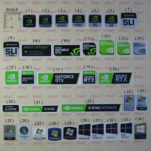 NVIDIA GEFORCE RTX GTX QUADRO SLI NVS CUDA ION G-SYNC STICKER + OS STICKER