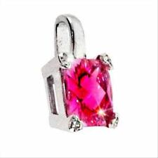 925 Silver Lab Created Pink Sapphire& CZ Square & Heart Pendant