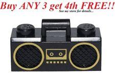 ☀️LEGO Minifig, Utensil Radio Boom Box with Handle and Gold Trim Pattern - Black
