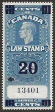 Canada 1938 Supreme Court Revenue KGVI 20c/10c #FSC22 VF Used CV $30.00