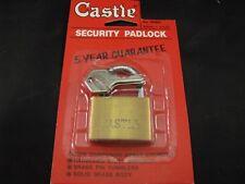 VINTAGE NOS CASTLE BRASS PADLOCK #157 W/ KEYS - COLLECTIBLE