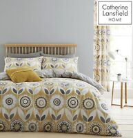 Catherine Lansfield Annika Ochre Yellow Grey King Bed Duvet Quilt Cover Set New