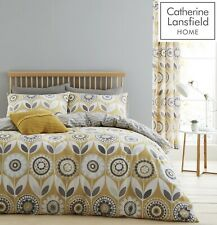 Catherine Lansfield Annika Ochre Yellow Grey King Bed Duvet Quilt Cover Set