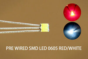 20pcs Pre-soldered litz wired leads Bi-color RED/WHITE SMD Led 0605 NEW DT0605RW