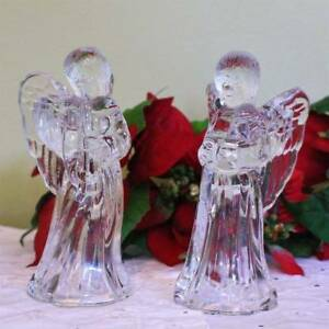 Angel Candle Holders Taper Set of 2 Reading Book Playing Flute Glass Crystal 6.5