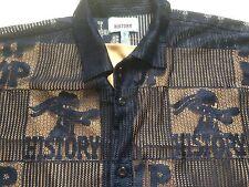 Hip Hop History XL Navy blue mesh see-thru short sleeve button polyester shirt