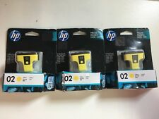 3 x Genuine HP 02 Yellow PRINTER INK CARTRIDGE  (Past used by date)