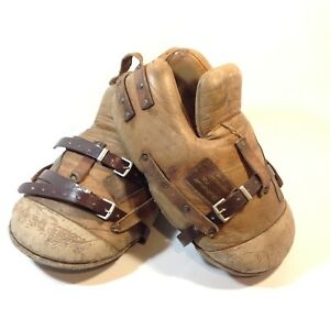 Vintage / Antique Leather Ice Hockey Foot Protectors