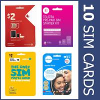 10 x AUSTRALIAN SIM CARDS PREPAID OPTUS VODAFONE TELSTRA MICRO NANO 3G 4G LTE
