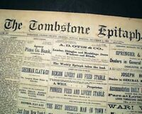Rare TOMBSTONE EPITAPH Post Gunfight at the O.K. Corral Arizona 1881 Newspaper