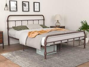 Full Size Metal Bed Frame, Country Iron-Art Platform, Steel Slat Support, Brown