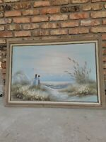 "Philip Sandee Signed 41 x 29"" Original Oil on Canvas Painting Beach/Sea children"