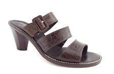 DONALD PLINER Size 8.5 Brown Alligator Print Slide Tri-Strap Sandals Shoes 8 1/2
