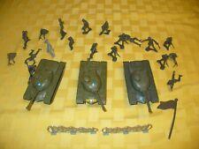 Vintage Army Lot ~ 3 Tim-Mee Tanks,  19 Tim-Mee Army Men & Accessories