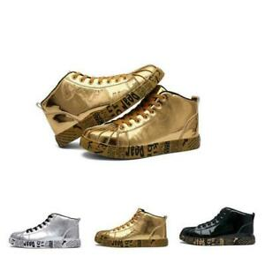 Mens Pumps Lace Up Shiny Casual Sport Walking Athletic Sneakers  High Top Shoes