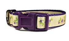 Yellow Purple Floral Adjustable nylon dog puppy collar girl small medium Pretty