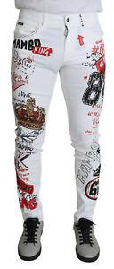 DOLCE & GABBANA Jeans White Printed Stretch Fit Patch Denim IT46/W32/S RRP $1200