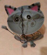 Brand New Bird Feeder-Cat-Shaped-Gray Body, Pink Ears, Yellow Polka Dot Bow Tie